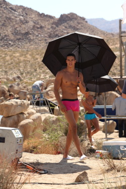 Matt Terry on location for Calvin Klein Underwear Bold, 2012.