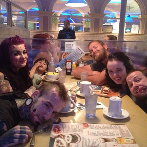 Late dinner with these misfits in vegas!! :D thats right table full of waters baby haha ;) #goodtimes #goodfriends #misfits #bodymodification