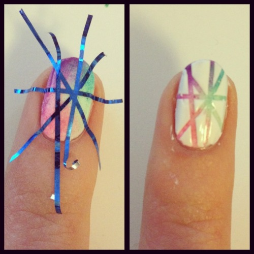 nail-art-101:  Just a very quick how-to for the last mani I posted! Also, if you want to know how to get the rainbow fade effect, check out this tutorial.