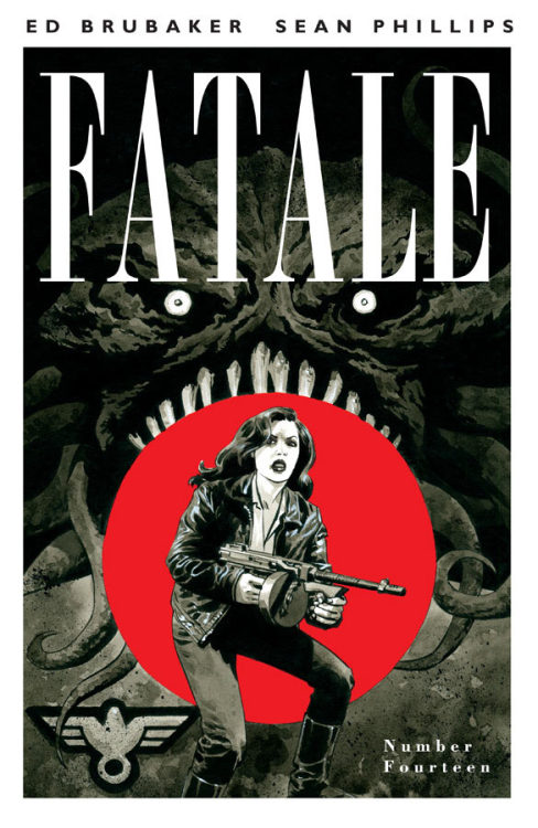 FATALE #14 (MR) story ED BRUBAKER art SEAN PHILLIPS & DAVE STEWART cover SEAN PHILLIPS MARCH 27 32 PGS / FC / M $3.50 The final standalone FATALE FLASHBACK issue – World War Two! Nazi cultists and monsters are after Jo, as she searches for answers and comes face to face with Mr Bishop for the first time! And remember each issue of FATALE contains extra content, articles and artwork that are not available anywhere but the printed single issues.