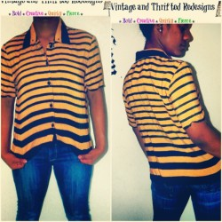 DASHA'VERI send this bumblebee button up to one of our southwest dolls! $5 http://www.dashaveri.storenvy.com #thriftstorejunkie #thrifted #thriftstore #spikes #stripes #black #yellow #vintage #DashAveri #fyourstyle #plussize #style #fashion #fashionista #RVA #shoplocal #online #Gaptoothdiva #retro #retail #bey #bee #print #quirky #bold  (at DASHA'VERI Vintage & Thrifted Redesigns)