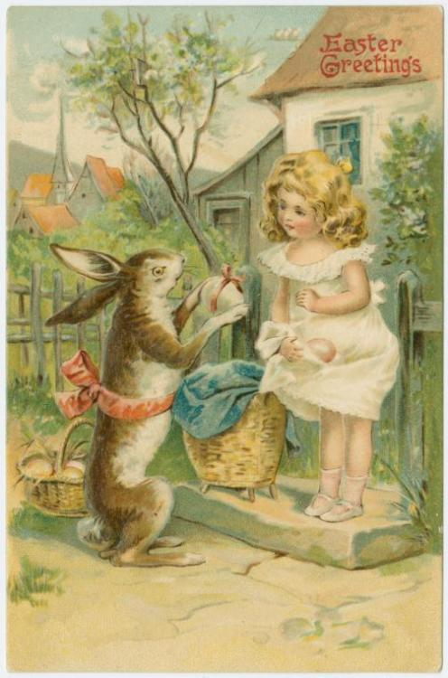 (via Easter greetings - ID: 1587202 - NYPL Digital Gallery) look at his expression - he's hiding something…