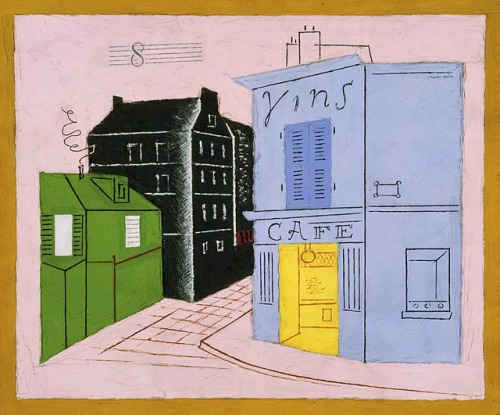 cavetocanvas:  Stuart Davis, Blue Café, 1928 From the Phillips Collection:  In Blue Café Davis painted a frame around the image and suspended the forms against a background of solid pink, emphasizing the two-dimensional picture plane. The space of the composition is compressed within the painted frame and the buildings reduced to simple geometric blocks. He transformed the curls of smoke rising from the chimney into taut squiggles. In the sky a schematic musical staff, on which is placed a figure—either the number 8 or a bass clef—hovers in the upper part of the composition. It suggests sound, perhaps that of a Parisian street or café music, which Davis greatly enjoyed during his residence in the French capital. Hovering in the sky, the motif emphasizes the flat surface of the canvas as if to counteract the curve of street, which implies spatial depth. In contrast to the cool objectivity of the Egg Beater series of the previous two years, the Paris works retain the identity and buoyant atmosphere of their subject, revealing Davis's love for that city.