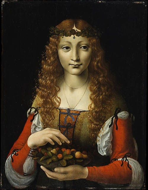 whenasinsilks:  Girl with Cherries, attributed to Giovanni Ambrogio de Predis, oil on panel, c. 1491-95, Milan, Italy.