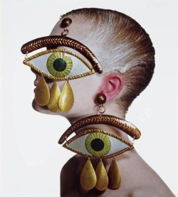 hoodoothatvoodoo:  Irving Penn Gaultier Eye Earrings, New York 1998