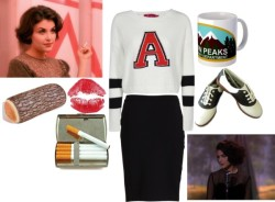 honey-heroin:   Audrey Horne by acidpunks featuring a high waisted pencil skirt
