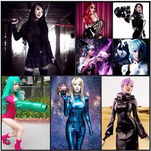 vampybitme:  @mytoysquade compiled some of my #cosplay into this nifty lil post 👶 😘 #samus #gantz #reika #ayane #doa #morrigan #darkstalkers #reiayanami #evangelion