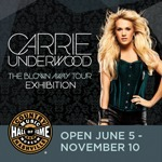 "The Country Music Hall of Fame® and Museum will explore superstar Carrie Underwood's critically acclaimed world tour with the exhibition Carrie Underwood: The Blown Away Tour, which opens on June 5, 2013, and runs through November 10, 2013.  The exhibit will feature original costumes, custom accessories, set pieces, a tribute to Carrie's fans and much more.              ""Carrie Underwood's dynamic 'Blown Away Tour'—starring her peerless powerhouse vocals and featuring amazing special effects including a tornado— has been entertaining music fans around the globe,"" said Museum Director Kyle Young.  ""It's easy to see why she was Pollstar's 2012 top female country touring artist.  Touring has always been a key element connecting music artists with their fans; those interactions help forge and strengthen the artist-fan relationship, and this exhibit speaks to that.  We are delighted to be able to show our visitors key elements from Carrie's show; whether re-living their favorite memories of the tour, or experiencing it for the first time via our exhibition, fans will enjoy this 'up close and personal' look at a world-class, superstar level music tour.""             The Blown Away Tour exhibition will recreate nearly a dozen vignettes from the tour and include the following artifacts: One-of-a-kind gowns, embellished separates and other stage wear created by Emmy Award-winning costume designer Marina Toybina including a wide array of coordinating shoes, jewelry and accessories  Colorful customized microphones made for and used by Carrie throughout each show  Select band members' costumes and instruments  Items from Carrie's backstage ""meet-and-greet"" area, including a selection of gifts and signs presented to Carrie by fans during the tour                The six-time Grammy winner's 2012-13 ""Blown Away Tour"" will play 112 dates by the time it wraps on May 23, with Carrie having performed for fans in the United States, Canada, the U.K., Northern Ireland and Australia."