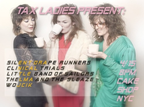 C'mon out to Cake Shop tomorrow after you get your taxes done! Super excited to be playing with Thelma & the Sleaze (from Nashville)!