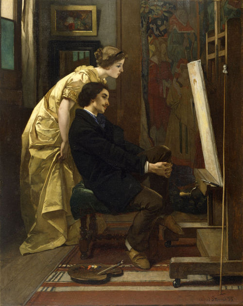 "the-garden-of-delights:  ""The Painter and His Model"" (1855) by Alfred Stevens (1823-1906)."