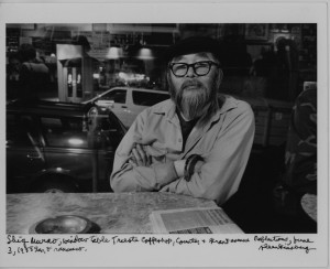A photo of legendary City Lights manager Shig by Ginsberg