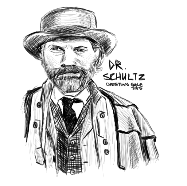 Quick sketch of Dr. King Schultz because I just watched Django Unchained and Christoph Waltz is a boss.