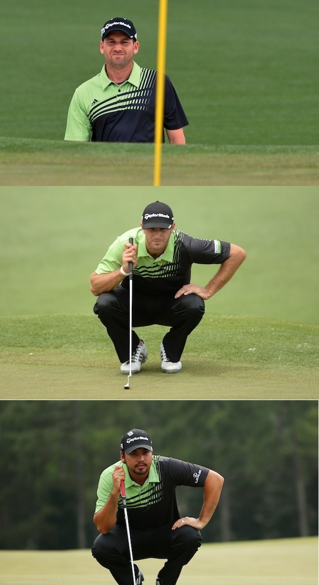 WATCH MASTERS LIVE THUMBS UP or THUMBS DOWN for three golfers wearing matching Adidas shirts all weekend?