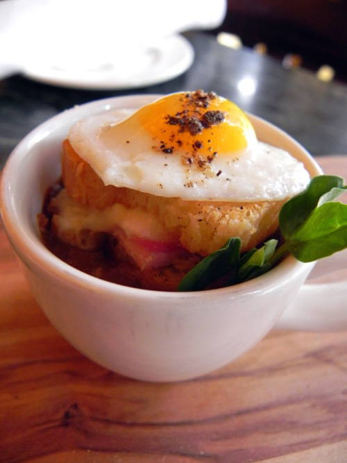 Creole French Onion Soup with andouille sausage and a petite croque madame topped with a quail's egg from (the soon to be opened) Tableau