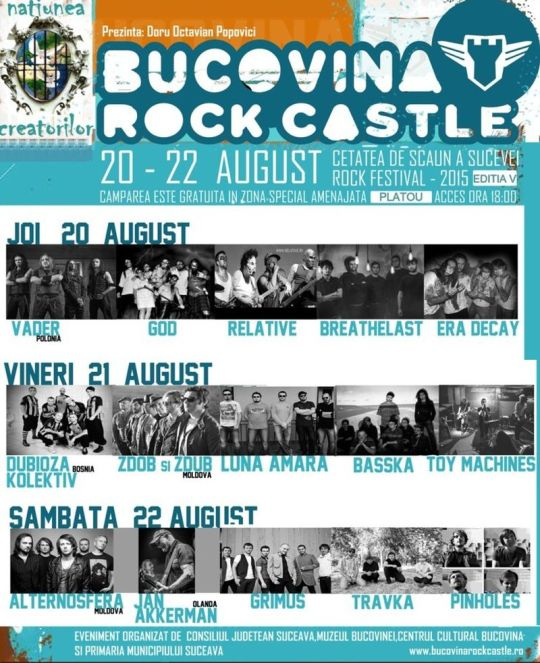 Bucovina Rock Castle, ediţia a V-a | Cetatea de Scaun a Sucevei, 20-22 august 2015