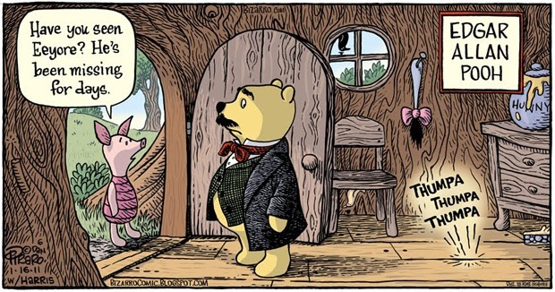 merryhappymerryhappy:  vasta:  Edgar Allan Pooh (via) made me chuckle this morning.  hahaaaaaa