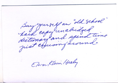 Postcard of advice from Eloise Klein Healy