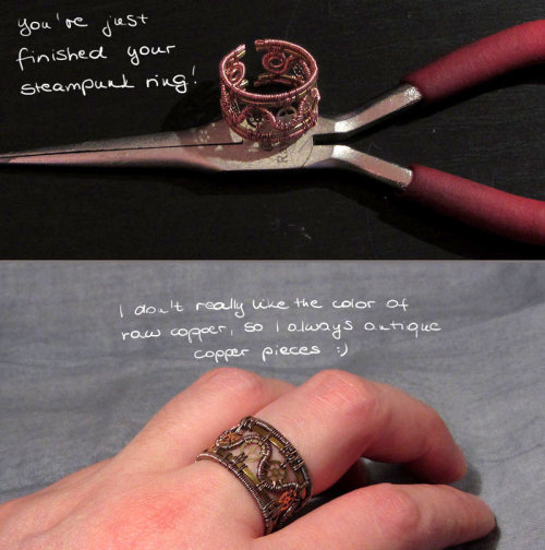 DIY Wire Wrapped Gear Steampunk Ring Tutorial from Boda Szilvia on deviantart here. Really excellent and clear tutorial using gears and wrapped wire. For more wire DIYs go here: truebluemeandyou.tumblr.com/tagged/wire