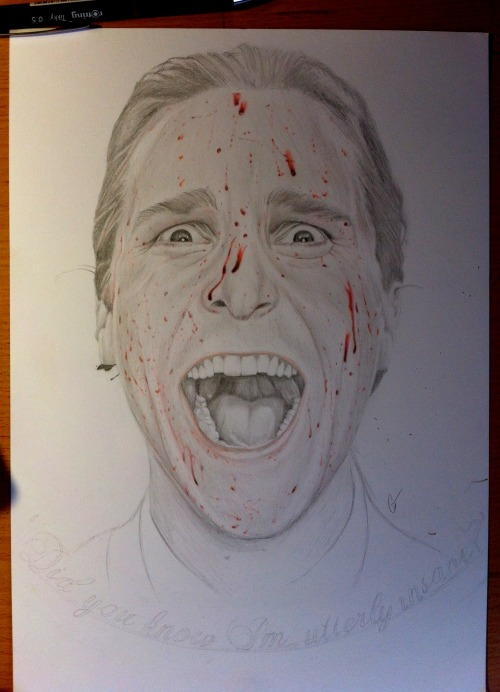 bananaalama:  Progess pic of Christian Bale in American Psycho. Late birthday present for my sister, only 8 hours into it, got many hours left but the drawing and video is already looking good!  http://www.facebook.com/colleentrillowillustration