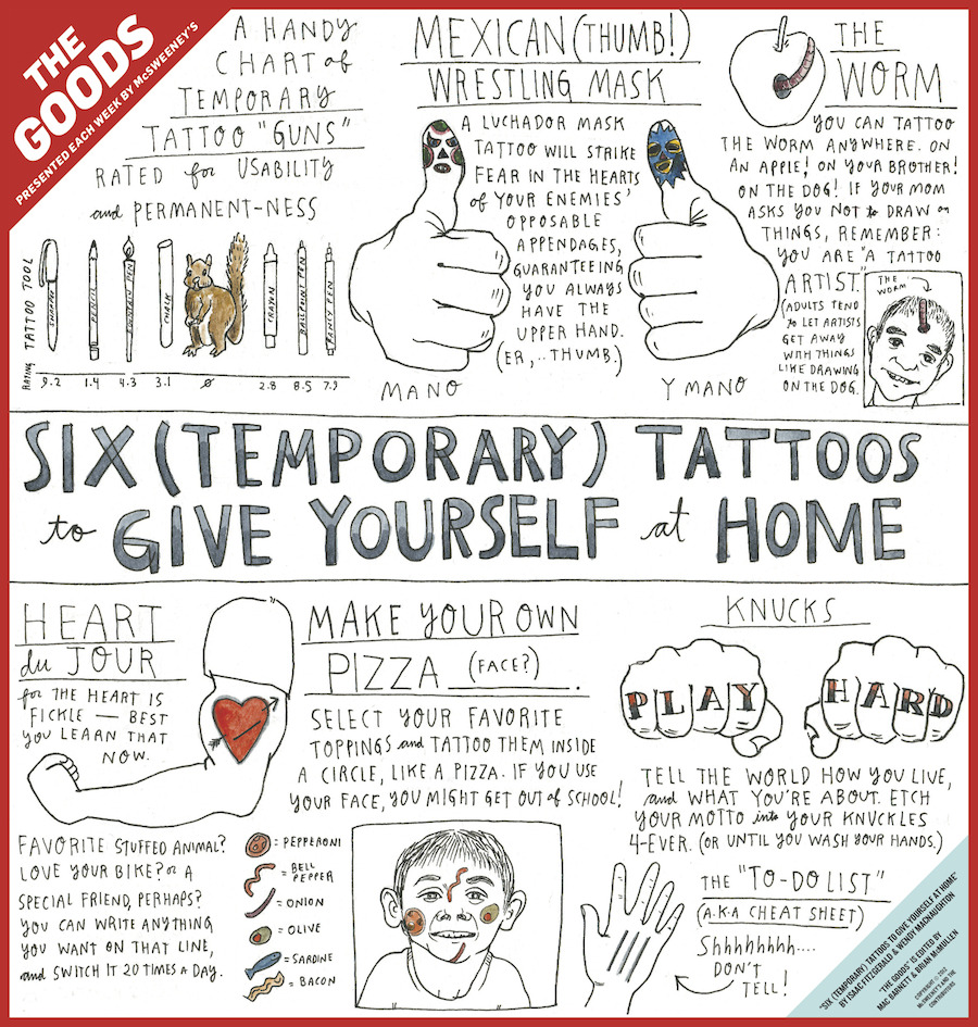 Temporary tattoos for children commissioned by McSweeney's The Goods.