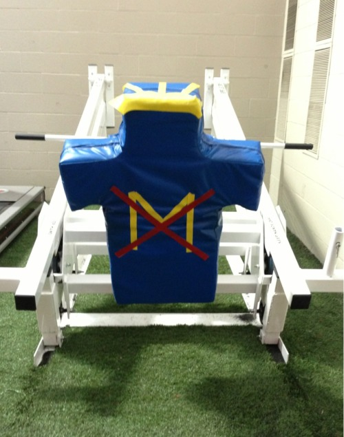 A custom Michigan tackling dummy at Ohio State football facility
