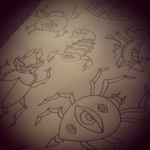 Who's in to bugs… #wip #tattoo #tattooflash #tattooapprentice #ruisoares #ruimessoares #bloodoath #bloodoathtattoo #bugs #moth #scorpion #mantis #spider #beetle