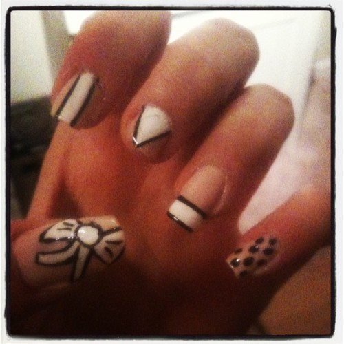 #mani #pink #white #black #precleanup #diditmyself #girl #nails
