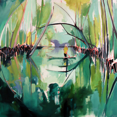 2headedsnake:  Charlotte Evans 'Reflected (mangroves)' oils