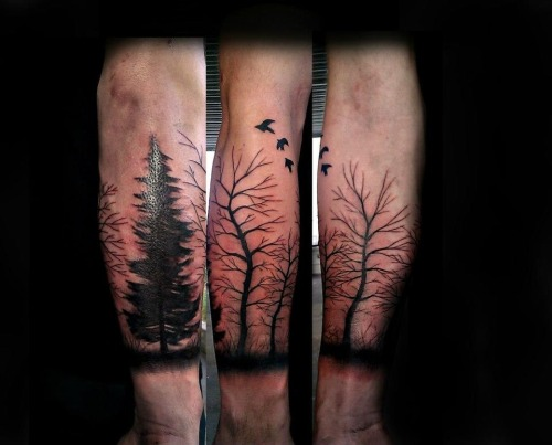 fuckyeahtattoos:  Free hand half sleeve trees done by Aaron Carey of Ink Daddys in Salem Oregon.