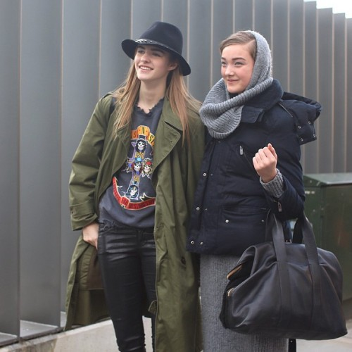 #modelsoffduty @asiapiwka (L) with @yumilambert outside the Erdem show at #LFW.