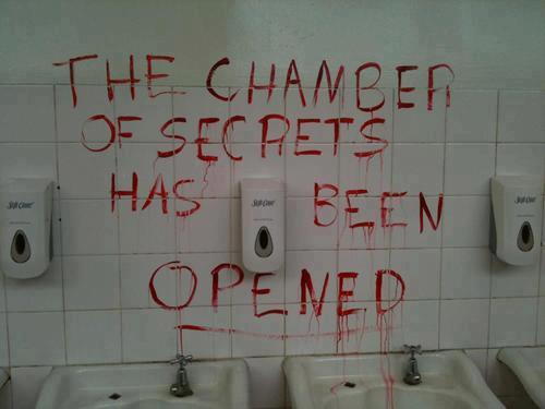 psychopsychic:  I really want to do this in the bathroom in my hall. Think the cleaning staff will be too busy laughing to be mad?  DO IT, MICHELLE! DO IT!
