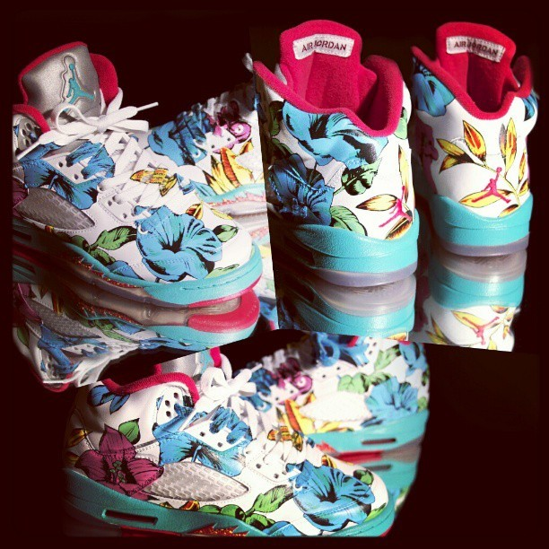 #Airjordan #5 #Custom Floral By @elcappy