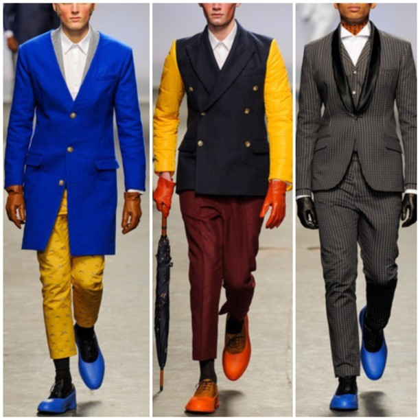 stephenchristopher:  MAN | Fall 13 menswear | some of my 3 most favorite looks. I enjoy each piece. I love the rubber coat over top of the hard bottom shoe. ( Prada f/w12 ) just saying