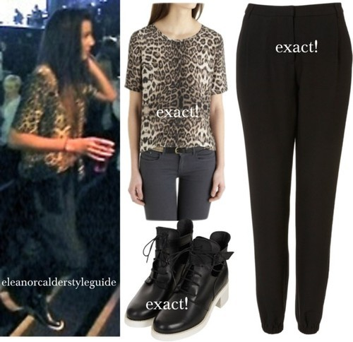 Eleanor at the concert tonight wearing this leopard print top,these pants and these aftershock boots!