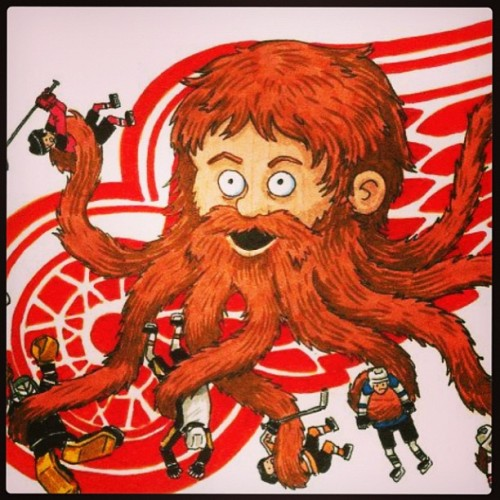 Playoff beard time!!! Go Wings!!! Thanks for the cool graphic @downwithdetroit  (at The Russian Brothel)