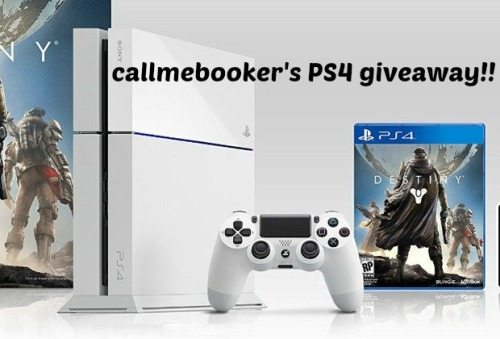callmebooker:  Hey everyone so since I've finally reached my goal of 600 followers, I said I was going to do my ps4 giveaway and here it is!! First I would like to thank everyone for their support and being so friendly. I have to give a huge shout out to my girlfriend elizabethcomstalker because I couldn't have done this or gotten this far without her.  So let's get to it! RULES:  -You must be following me as this is a giveaway to my followers. (I will check!) -The winner will get to choose between the ps4 destiny bundle which I have pre-ordered or the standard black ps4 I have and a choice of ANY game. I will even pre-order a game for the winner. -I WILL ship internationally. -I will be using a random generator to select the winner.  -Likes and EACH reblog will add your URL to the draw. But please do not spam. If you were following me before I made this, your URL is automatically added 5 times. -I will NOT announce the winner, I will inbox the winner and give them 48 hours to respond, if they do not I will proceed to pick another winner using the random generator. -The items will be used as to I will still use both of them until the giveaway ends so sorry the destiny bundle won't be brand new. -If you have any questions you can message me. ENDS OCTOBER 1ST. (Good luck everyone!)