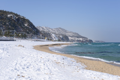 February 2014. Snowy beach at Jeongdongjin. Gangneung, Gangwon, South Korea.