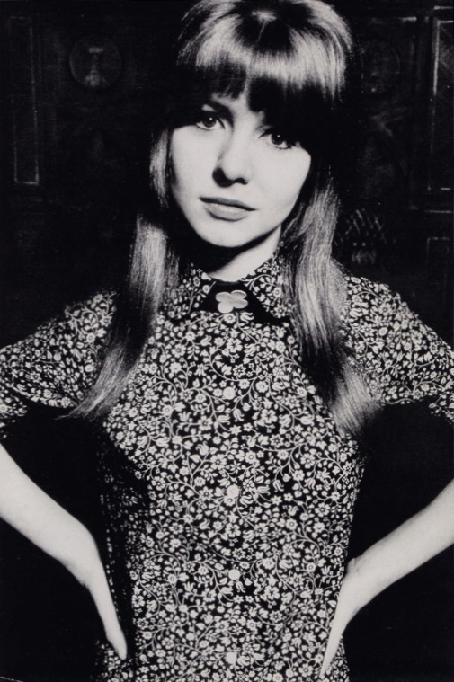 sweetjanespopboutique:  Jane Asher models a navy and white Liberty print dress designed by Foale and Tuffin -1964. Photographer: David Bailey/Vogue. Image scanned by Sweet Jane.