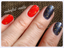 More OPI - Here is 'My Paprika is Hotter than Yours' and 'On Her Majesty's Secret Service' with 'The Man with the Golden Gun' gold flecks top coat.