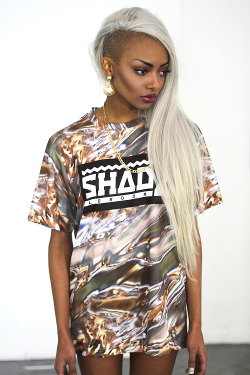 shadelondon:  SHADE Short Sleeved Printed Tshirt - 'Liquid Gold'