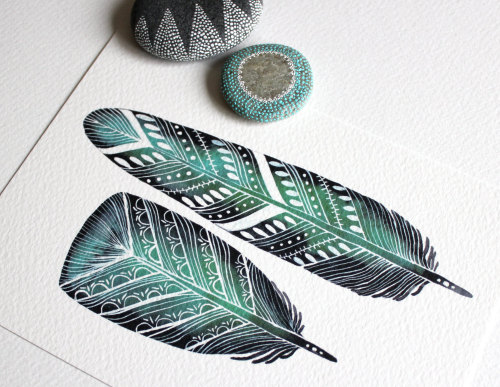 Beautiful feather watercolor on Etsy