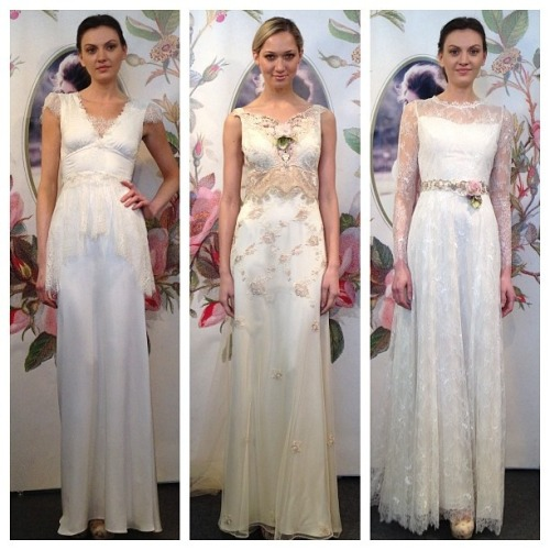Claire Pettibone 'Gladys', 'Primrose' & 'Charlotte' wedding gowns | Decoupage Collection | photographed by Bridal Guide at the 2014 NY Bridal Market