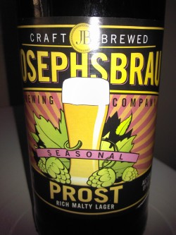 themarke:  Mini Brew Review: Josephsbrau Prost Lager ABV: 7.3% Appearance: Orange-amber with a decent head of foam and good lacing. Smell: Faint caramel malts. Taste: Sweet caramel malts with a hints of fruit, spice and hops. Mouthfeel: Smooth, creamy, medium bodied with little aftertaste. The Verdict: Not bad. A decent beer at the typically decent Trader Joe's price. You won't confuse it with a genuine German bock, but it won't disappoint you either.