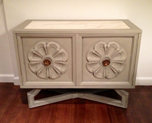"""Spring"" marble top vintage cabinet  Painted with Annie Sloan Chalk Paint in French linen 34""W 16""D 25""H sold"