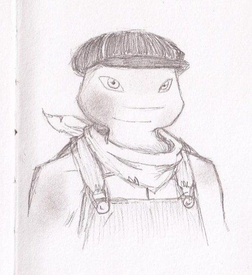 A Raph to add to my early 1900's AU. More to come!  16 years old; Raph has recently returned from running away almost three years ago. He has been jumping trains and doing heavy lifting jobs around the country, and has also been West looking for their father. Unfortunately, he was unsuccessful on the latter, and went straight home to tell Leo. He now tag-teams with Mikey as a newsie. He doesn't like the job, but he wants to keep an eye out for his little brother.