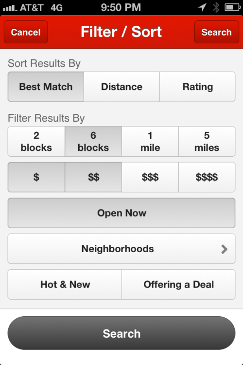 Yelp for iOS — When in New York City, the two tightest distance filters are measured in blocks, not miles. /via lilzet