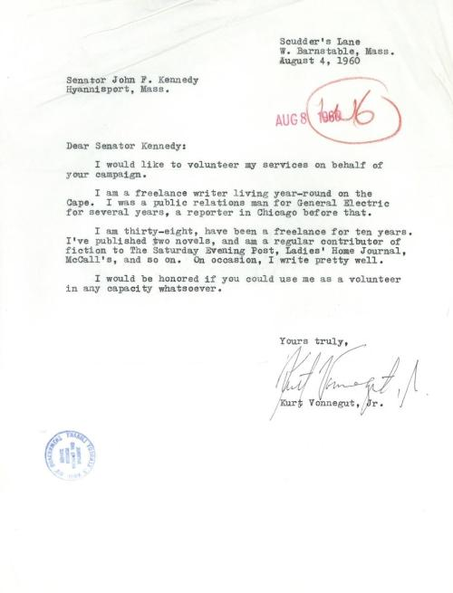 "nprfreshair:  Was there ever a more charming letter writer than Vonnegut? slatevault:  In which Kurt Vonnegut modestly offers his talents to the JFK campaign. Our favorite line? ""On occasion, I write pretty well."" http://slate.me/11QNcwA"