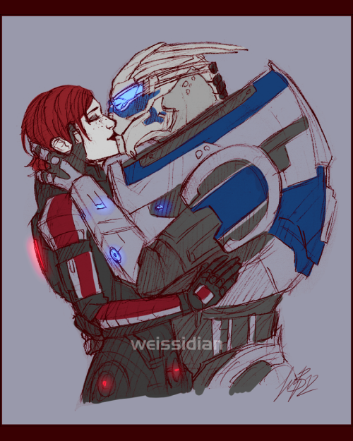 Just doodlin' Smooches while wearing armor must be a pain in the booty but it doesn't even matter because they love each other