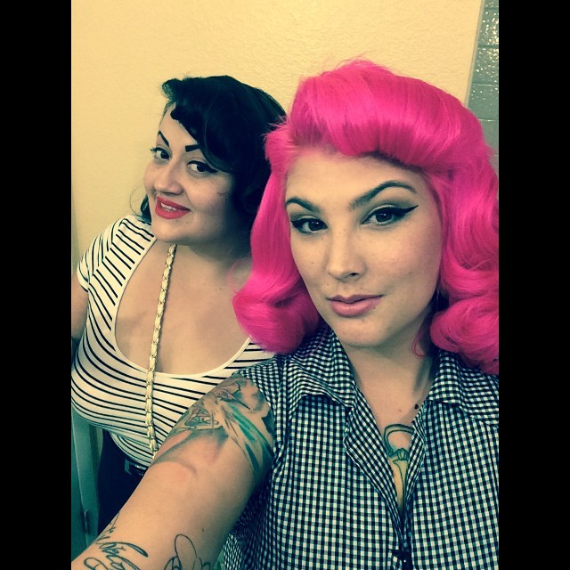 🙏👏👭Friends Forever, through broken zippers bad hair days and good ones,drunken nights and cooking breakfast, no matter what over the years through thick and thin I will always have your back 👯. #alt #bitchigotyou #classy #classicbeauty #colorfulhair #familynotfriends #beauty #girlswithplugs #haironpoint #ink #inkedladies #motd #makeup #pink #pinup #pinkhair #pecas #pinups #pinupgirl #retro #retrodoll #retrolifestyle #retrohair #plugs #plugsplugsplugs #modified #vintagehairstyle #vintagehairstyling #vintagestyle @ladydaydesign