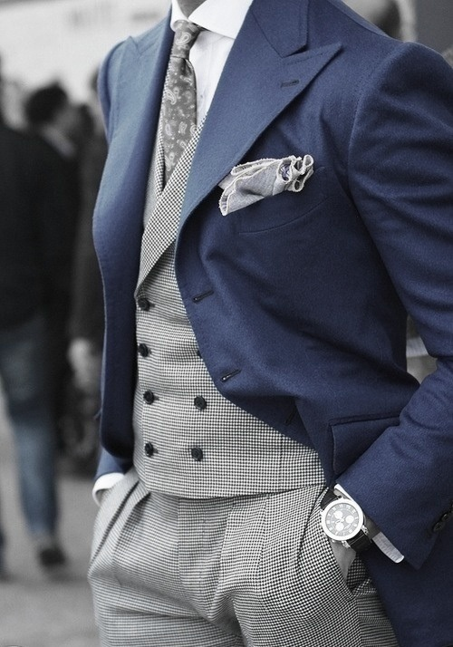 mrmoderngentleman:  That double breasted vest  Something about the colour grey that just does it for me… even more so in such an arrangement